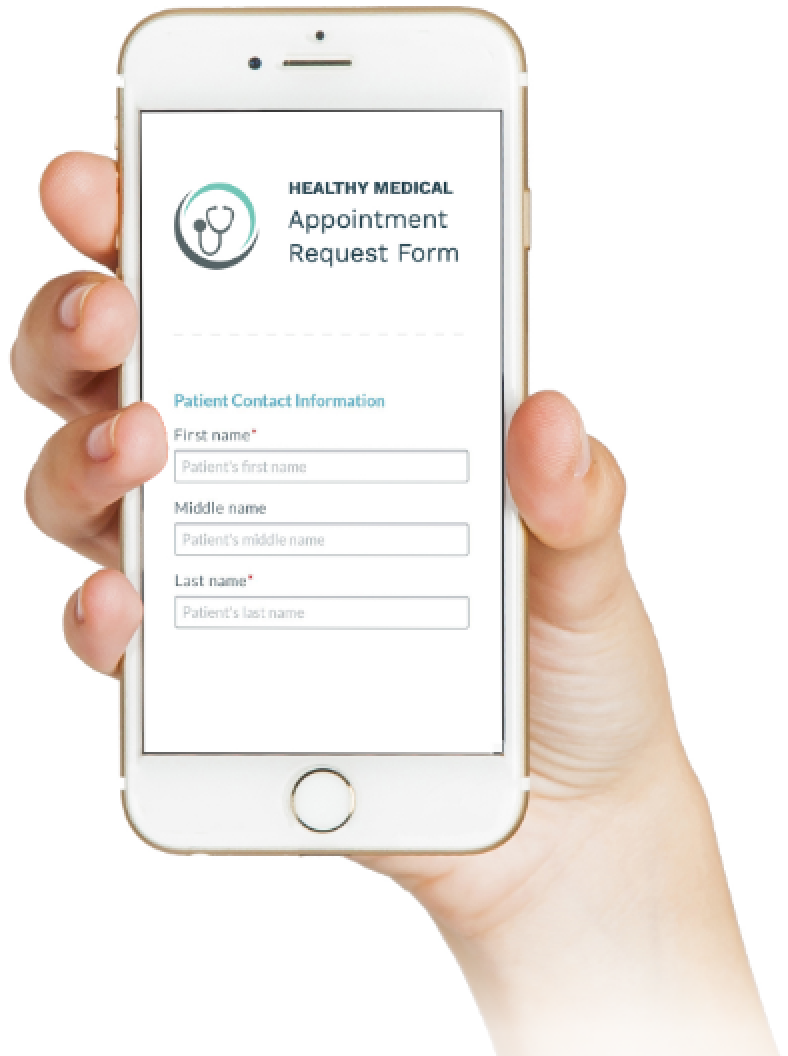 Woman holding her mobile phone displaying the Phreesia otolaryngology (ENT) Appointment Request Form screen