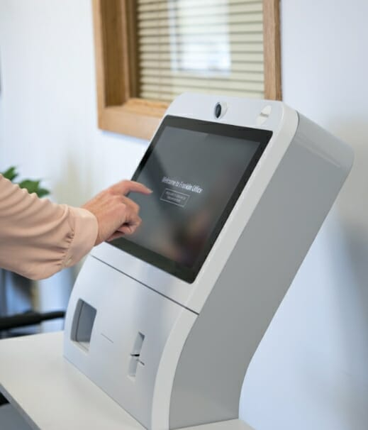 Phreesia Arrivals station kiosk in use at otolaryngology (ENT) practice