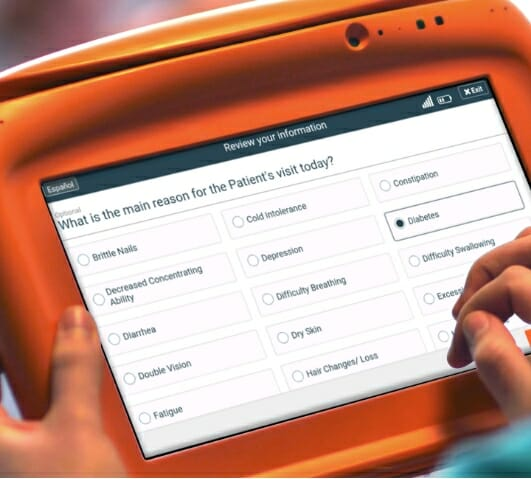 Sample endocrinology practice patient intake form on the PhreesiaPad tablet, patient indicating diabetes