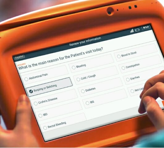Sample gastroenterology practice patient intake form on the PhreesiaPad tablet, patient indicating burping or belching