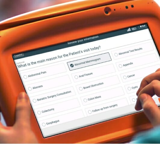 Sample surgery practice patient intake form on the PhreesiaPad tablet, patient indicating an abnormal mammogram