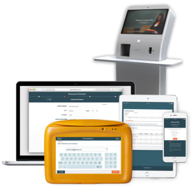 Image showing the various devices for using Phreesia: Arrivals station kiosk, laptop computer, tablet, mobile smartphone, and the PhreesiaPad