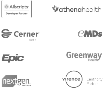 Logos of Phreesia EMR and PM system patient data integration partners